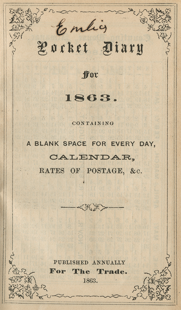 1863 Diary Cover Page
